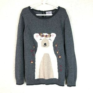 Hanna Andersson Sweater Girls 130/8 Bear Floral